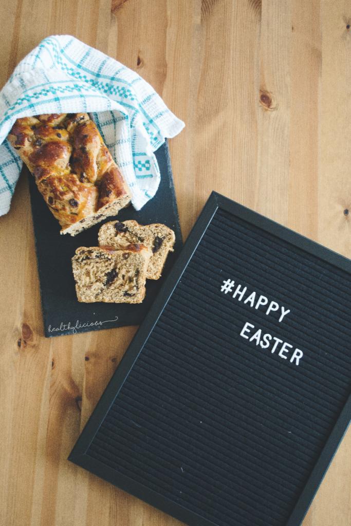 Здравословен козунак и надпис за Великден