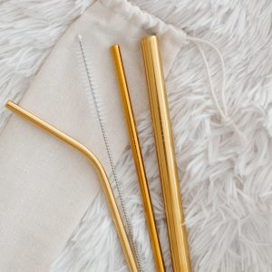 Златни метални сламки и четчица