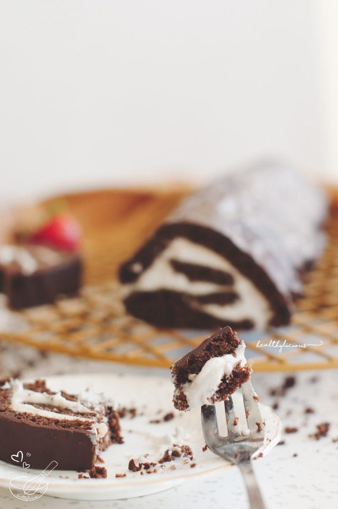 Безглутеново шоколадово руло с кокосов крем